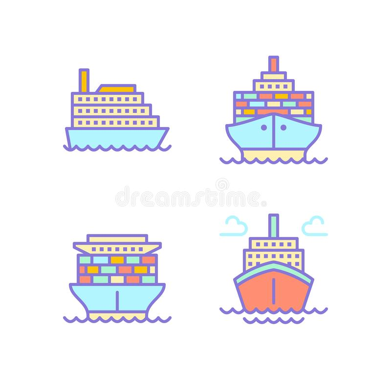 Ships flat line icons. Cargo shipping tanker, sea trip , marine transportation vector illustrations. Thin signs for royalty free illustration