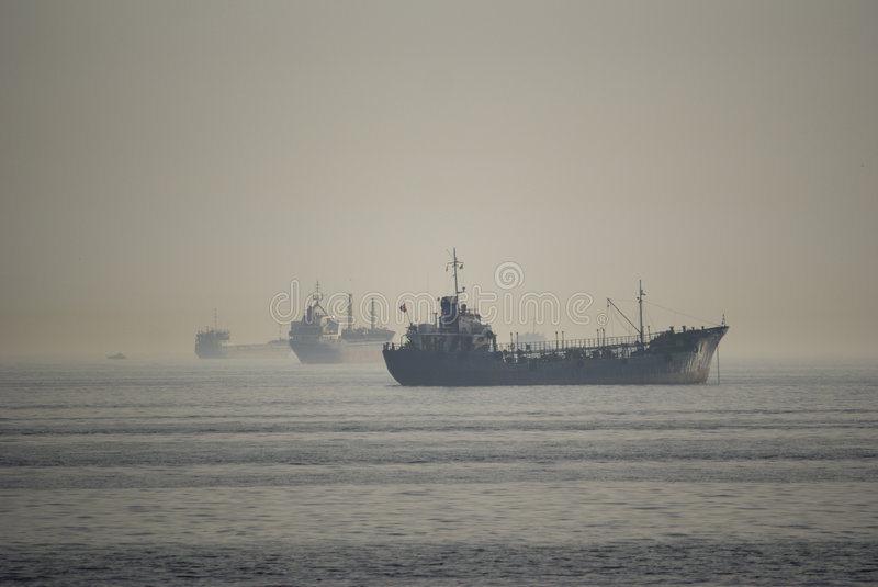 Download Ships in the fog stock image. Image of river, morning - 6939533