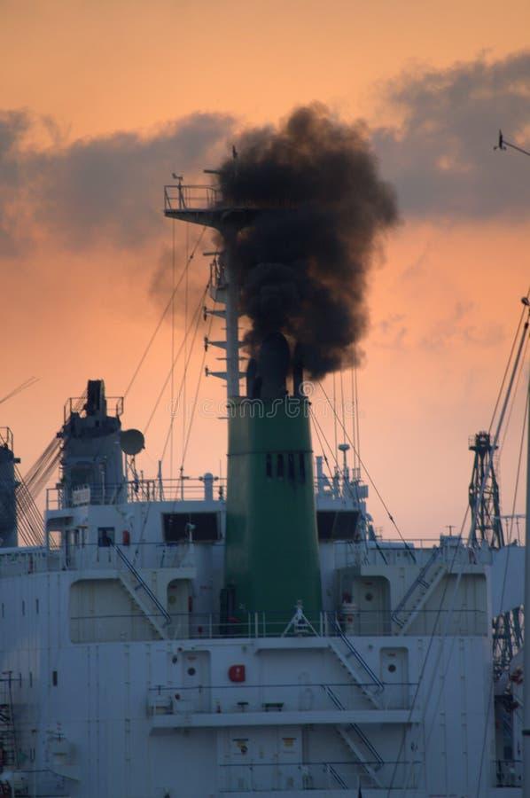 Oasis Of The Seas Engine Room: Ships Funnel Emitting Smoke Stock Photo