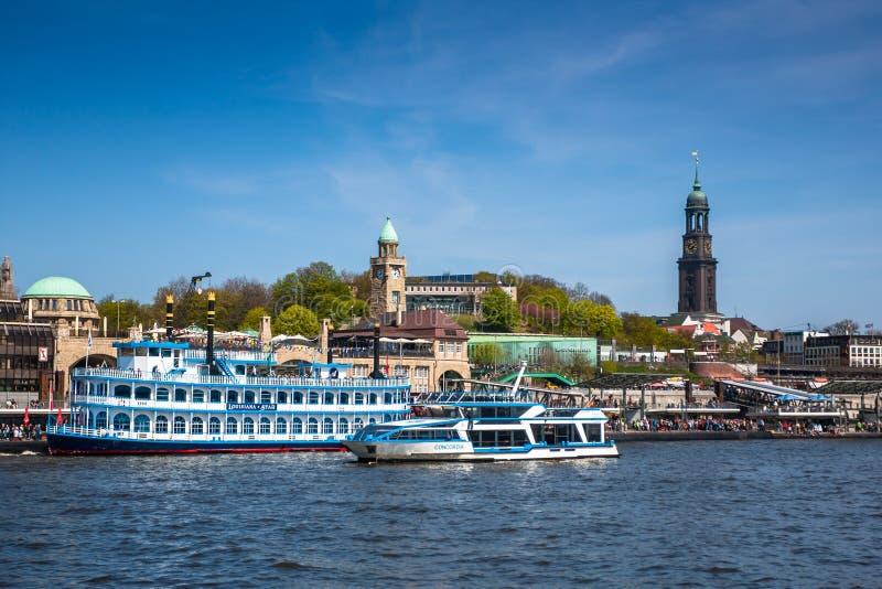 Ships at Hamburg harbor stock photos