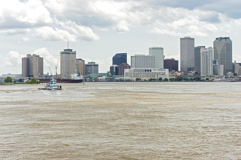 Ships in Harbor and Downtown New Orleans Skyline stock photos