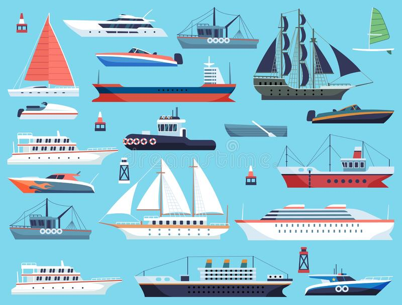 Ships in harbor. Shipping speedboating cruiser and sailboat, vector flat sea marine travel system transport set vector illustration