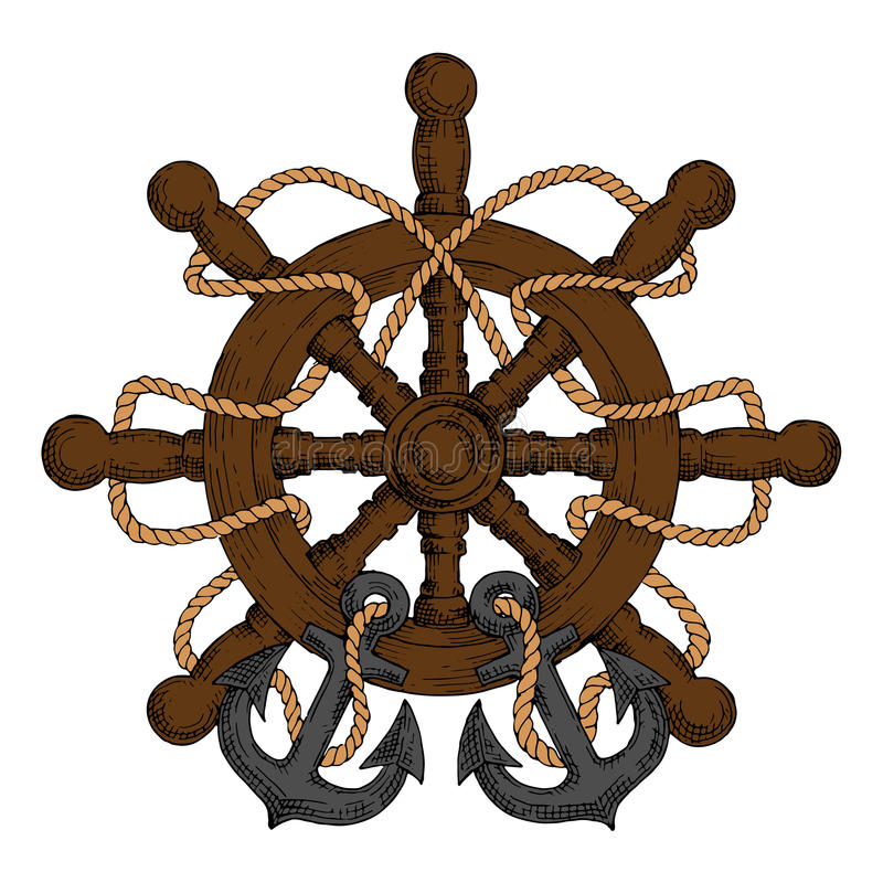 Ships Helm With Carved Handles, Rope And Anchors Stock Vector - Image: 65648149