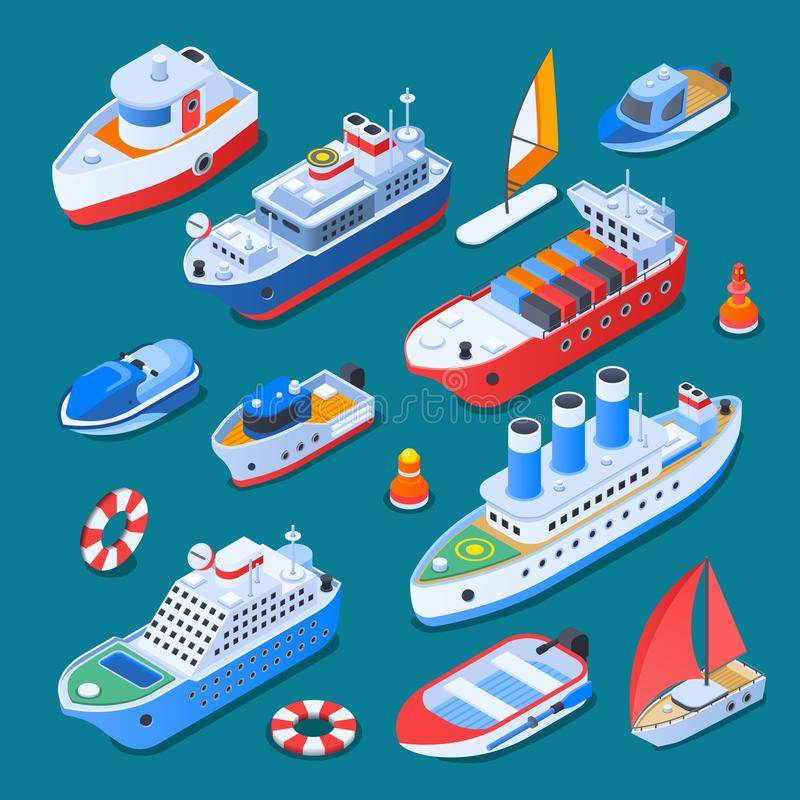 Ships Isometric Icons royalty free illustration