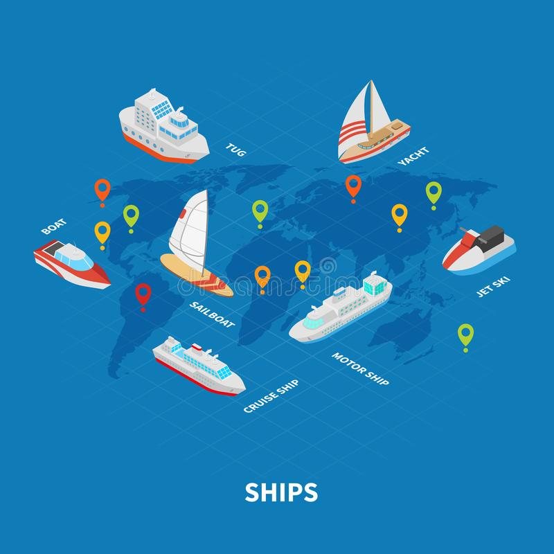 Ships Isometric Infographics stock illustration
