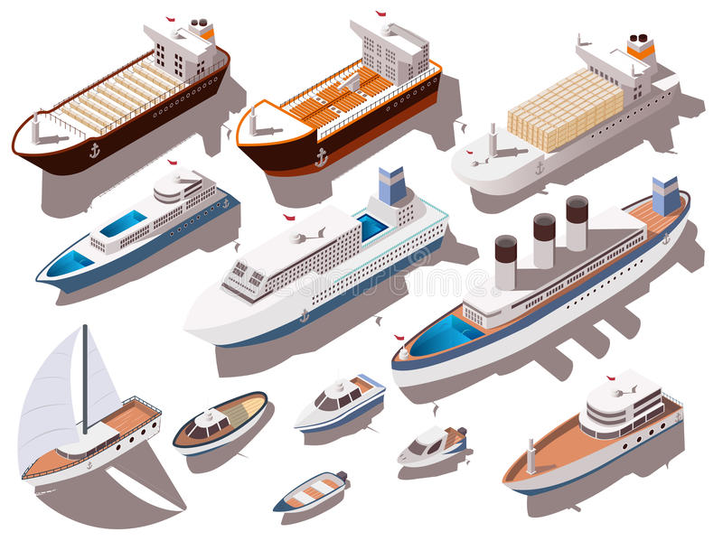 Ships Isometric Set stock illustration