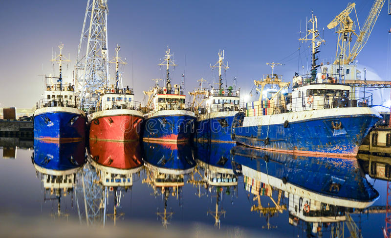 Ships in Klaipeda. Old ships that are floating for quite a while. Long exposure photo stock photo