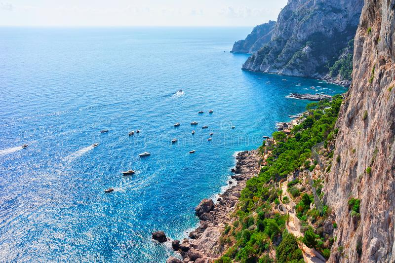 Ships in Marina Piccola in Tyrrhenian Sea of Capri Island. Italy royalty free stock image