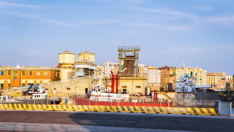 Ships at the Mediterranean Sea in Port. Of Civitavecchia in Italy royalty free stock photo