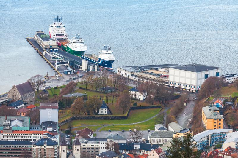 Ships moored in port, aerial view. Bergen. Norway stock photography