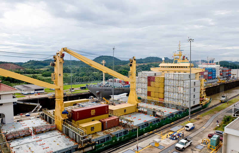 Download Ships in the Panama Canal editorial photography. Image of pacific - 7895812