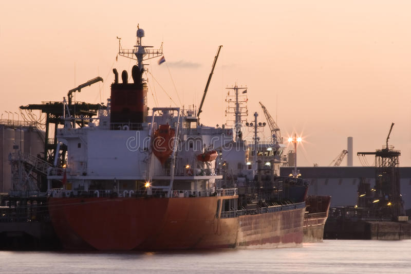 Download Ships In Port At Red Sunrise Stock Image - Image: 11841445