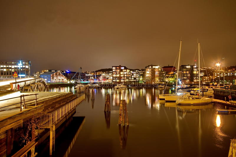 Ships in the port of Trondheim. Norway stock photo
