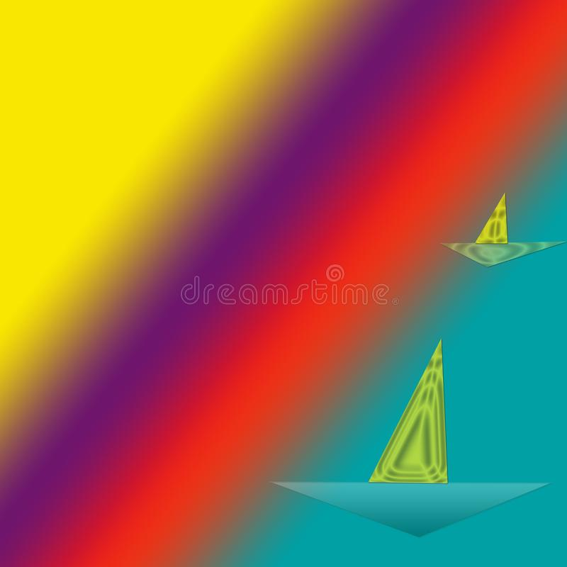 Ships with reflecting sails stock illustration