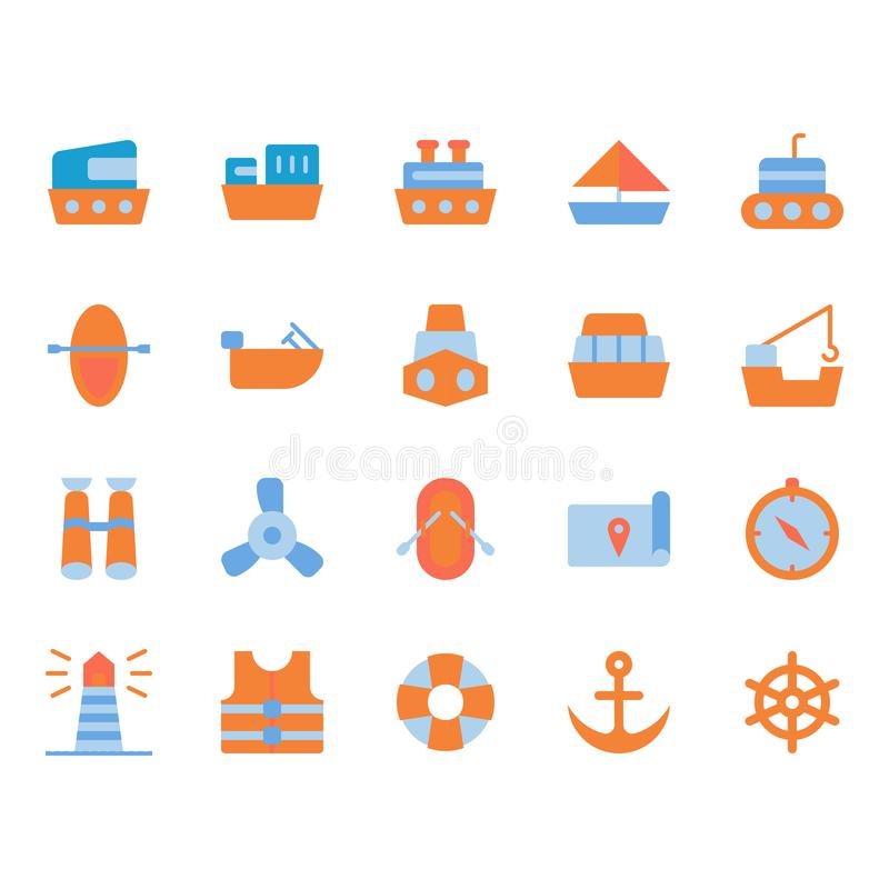 Ships related icon set. Ships related flat icon set stock illustration