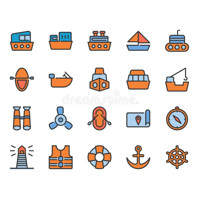 Ships related icon set. Ships related color outline icon set royalty free illustration