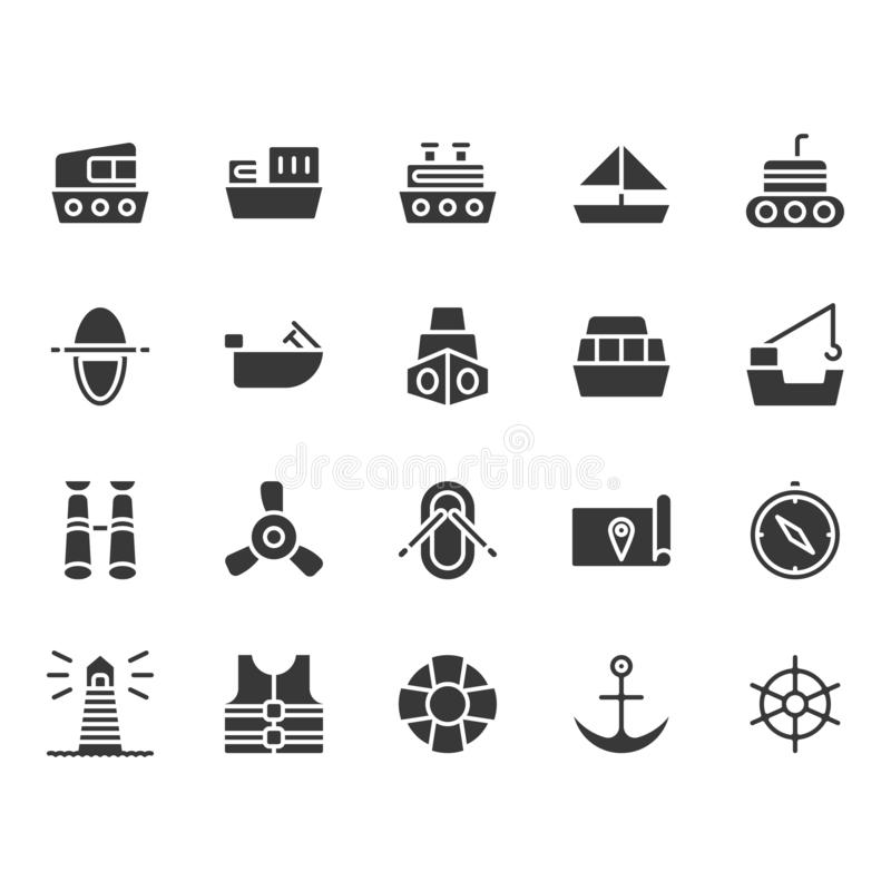 Ships related icon set. Ships related in glyph icon set royalty free illustration