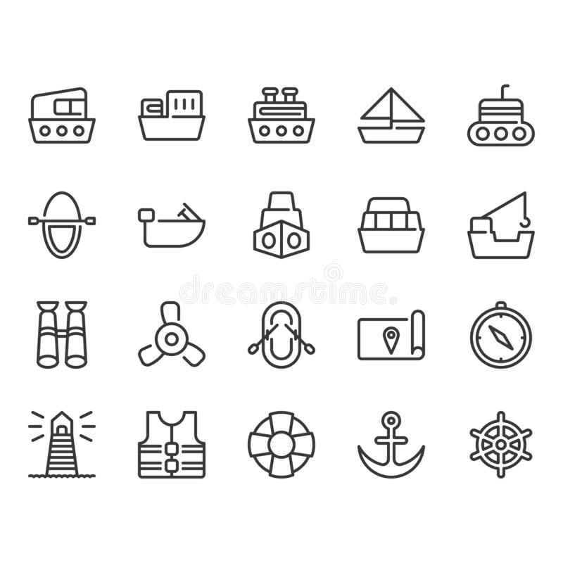 Ships related simple outline icon set vector illustration