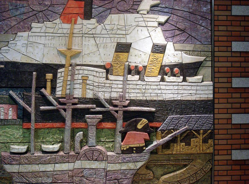Ships relief. Colorful relief showing the ships ocean liners from various ages at Yokohama royalty free stock image