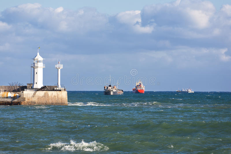Ships on the roads of port royalty free stock photos