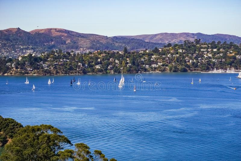 Ships sail in Belvedere Cove on a clear Autumn day, San Francisco bay, California royalty free stock photos