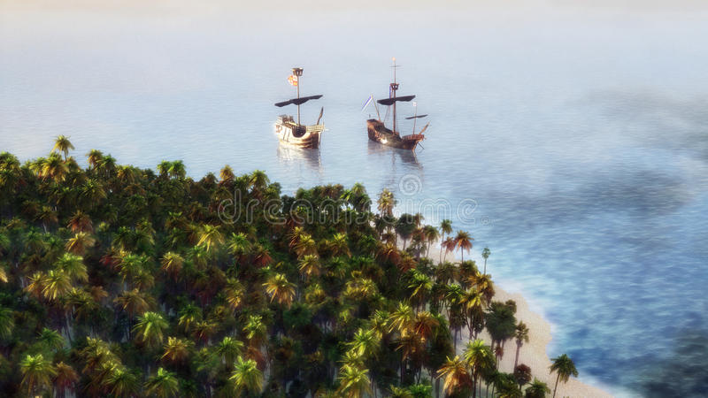 Ships On The Sea royalty free illustration
