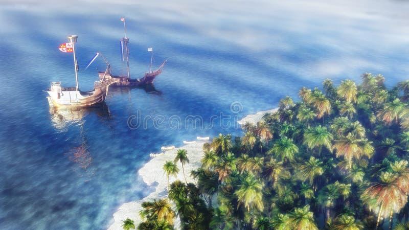 Ships On The Sea vector illustration