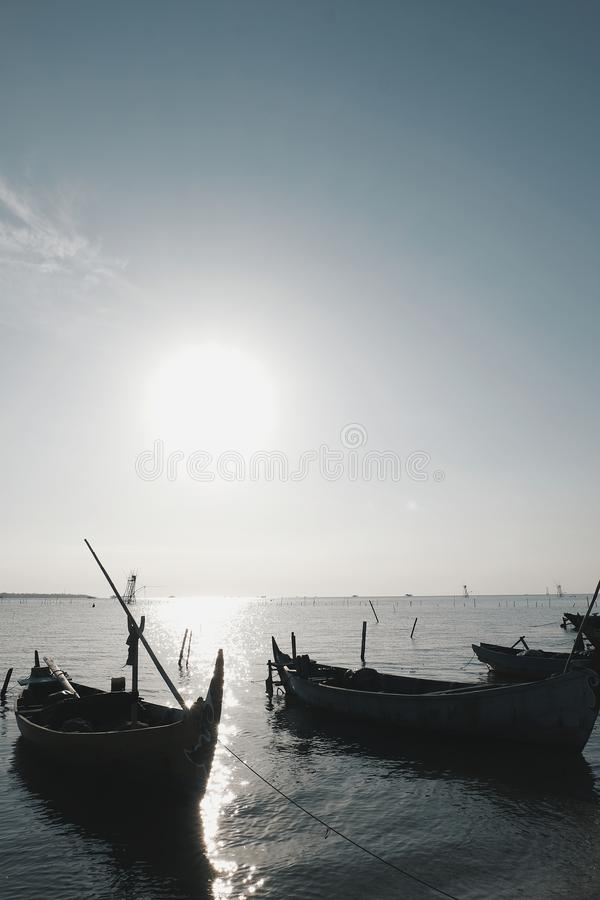 Ships in the sea. Local traditional fisherman`s ship in the sea stock photos