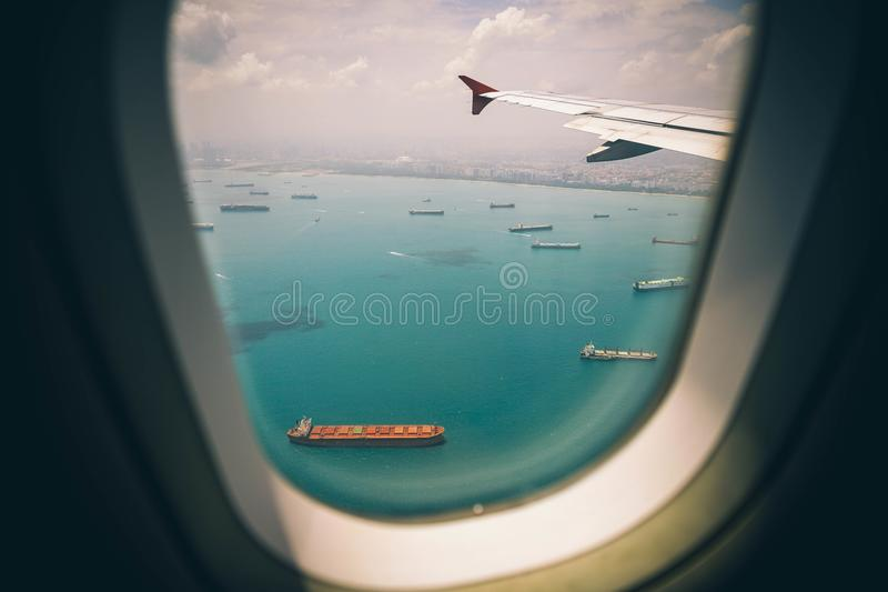 Ships seen from airplane royalty free stock photos