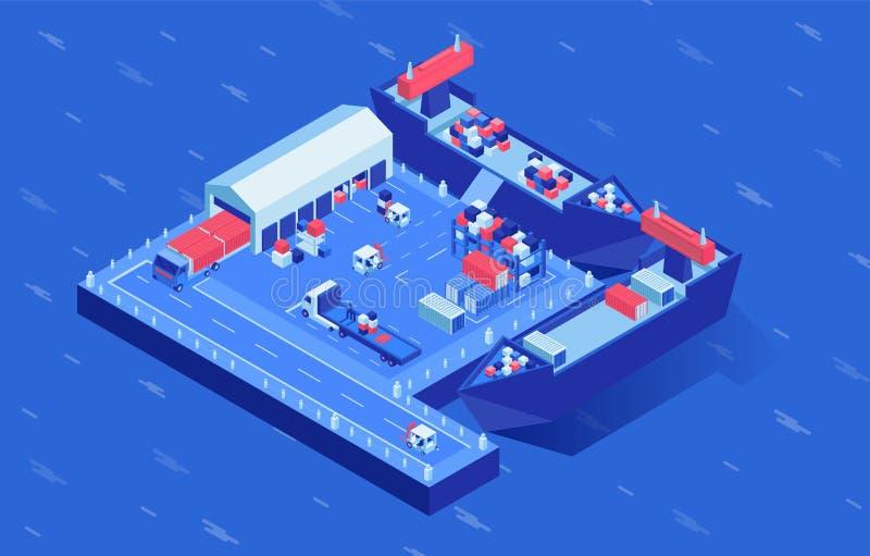 Ships at shipyard isometric vector illustration. Industrial marine transport in logistics hub surrounded by water. Ships at shipyard isometric vector royalty free illustration