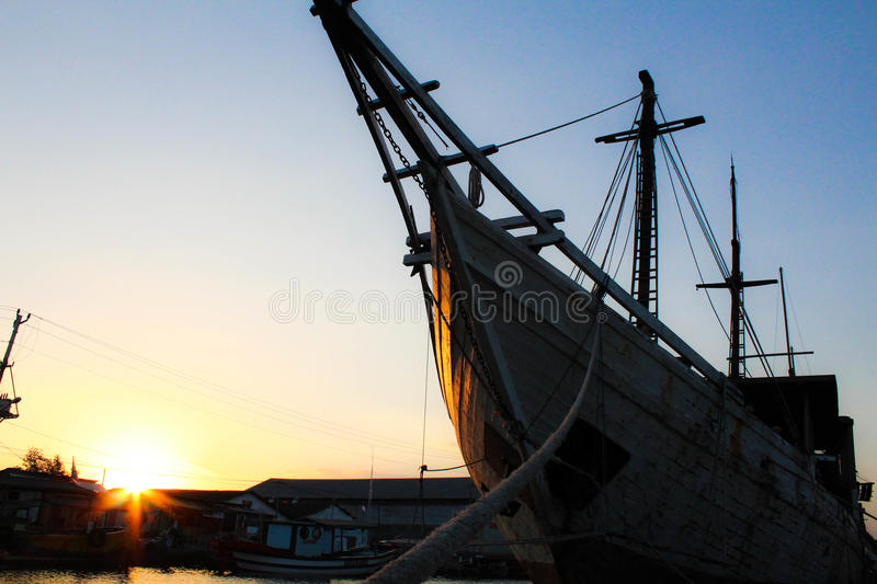 Ships and sunset royalty free stock photo