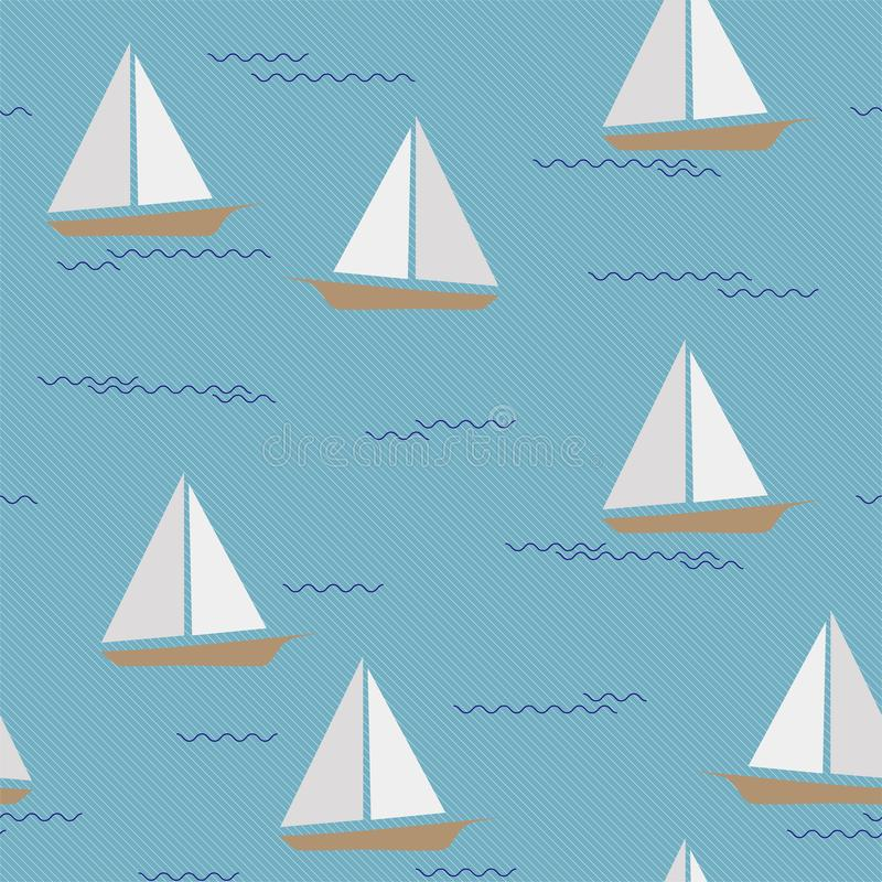Ships Vector Ornament Pattern Floating on Waves royalty free illustration