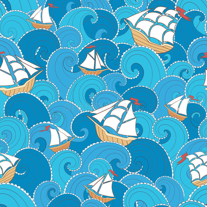 Ships and waves pattern vector illustration