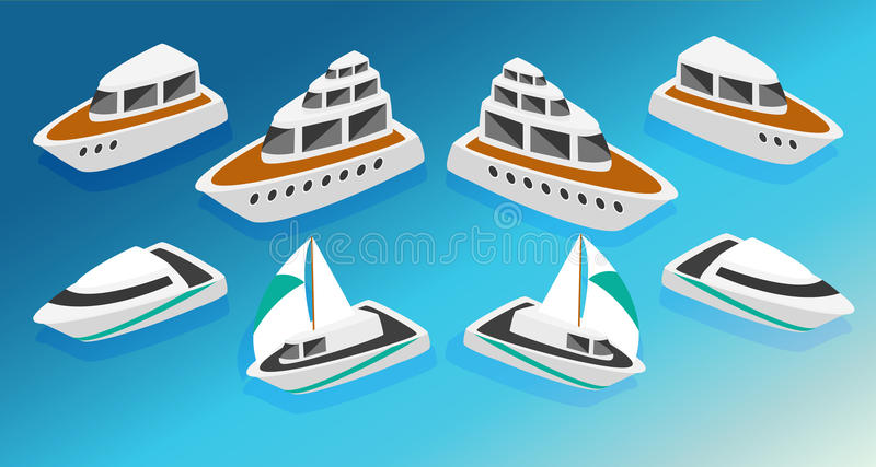 Ships yachts boats isometric icons set vector illustration vector illustration