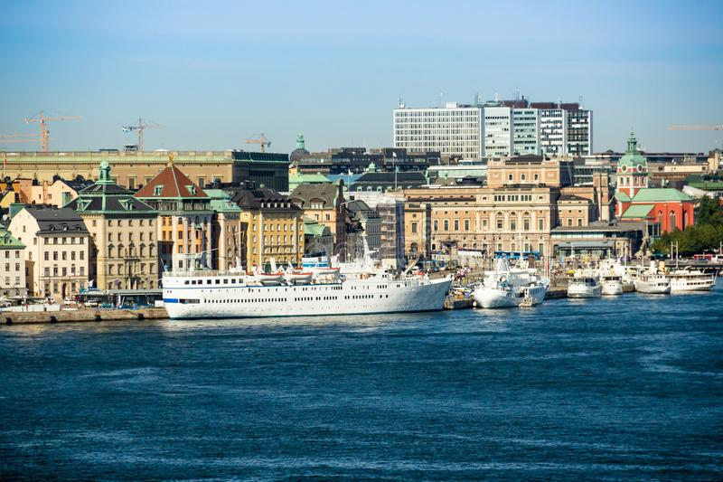 Ships and yachts moored in the water, Stockholm, Sweden stock photography