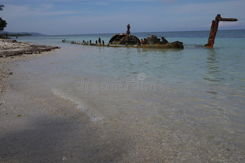 Shipwreak in acqua bassa Giamaica fotografie stock