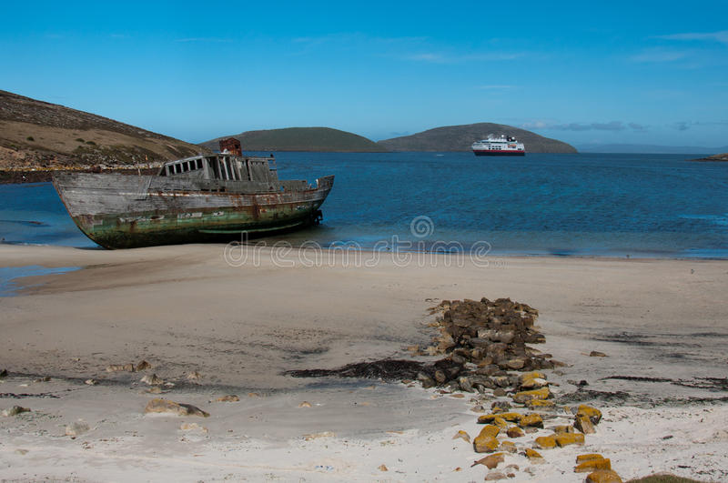 Download Shipwreck On The Beach, Falkland Is;lands Stock Photo - Image of panorama, derelict: 20906212