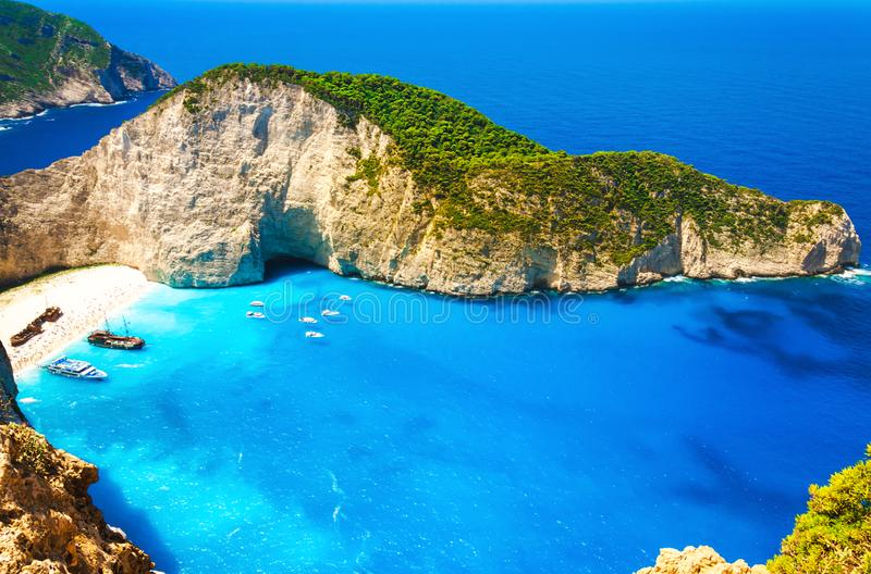 Shipwreck beach at Navagio bay, Zakynthos island, Greek royalty free stock photography