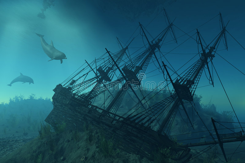 Shipwreck Beneath the Sea. Curious dolphins approach the wreckage of a sunken ship beneath the sea
