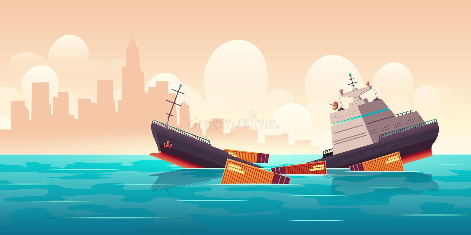 Shipwreck of cargo ship, vessel sinking in ocean. With goods containers going under water surface on cityscape background with skyscrapers silhouettes marine stock illustration