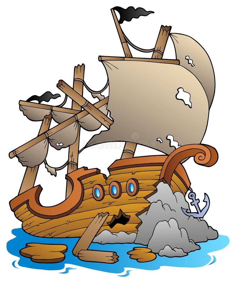 Shipwreck com rochas ilustração stock