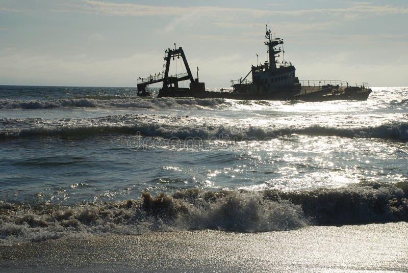 Shipwreck Costa de esqueleto Namíbia imagem de stock