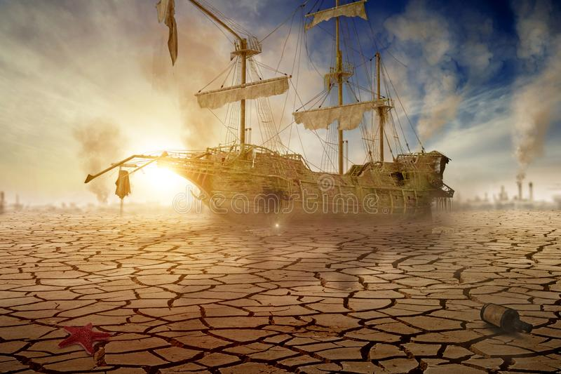 Shipwreck in the desert - 3D-Illustration royalty free stock photography