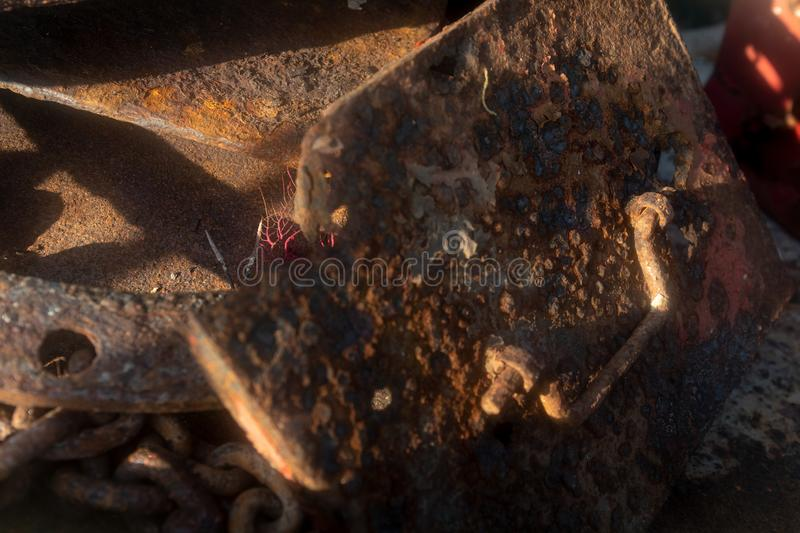 Shipwreck details. Chain with rust stock photography