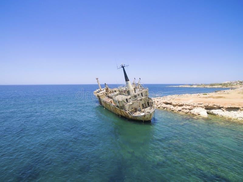 Shipwreck EDRO III, Pegeia, Paphos stock images