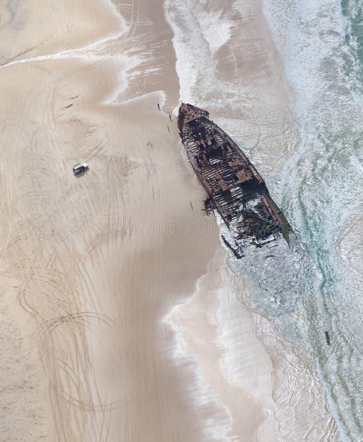 Shipwreck at Fraser Island Australia. The Maheno shipwreck on Fraser Island famous tourist spot in Australia stock photography