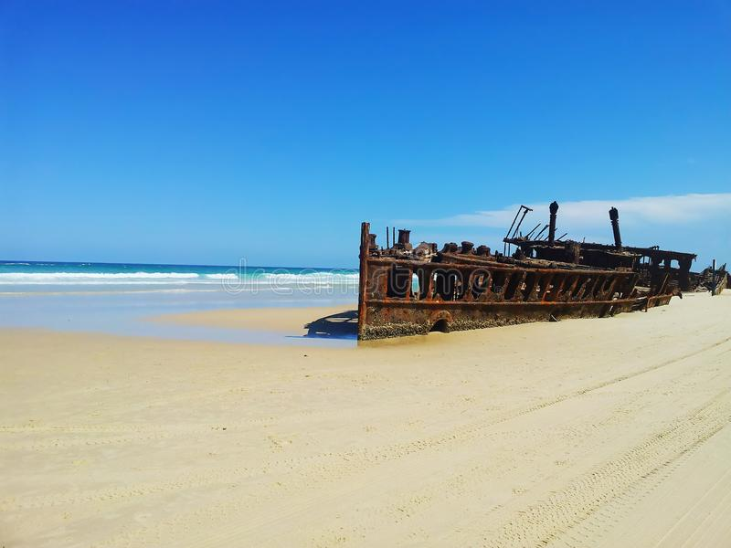 Shipwreck in Fraser Island, Queensland, Australien. An old Shipwreck at the beach in Fraser Island, Queensland, Australien. Thank´s for your DOWNLOAD royalty free stock photos