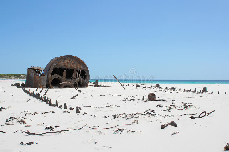 Shipwreck Kakapo at the beach of kommetjie. With blue sky stock images