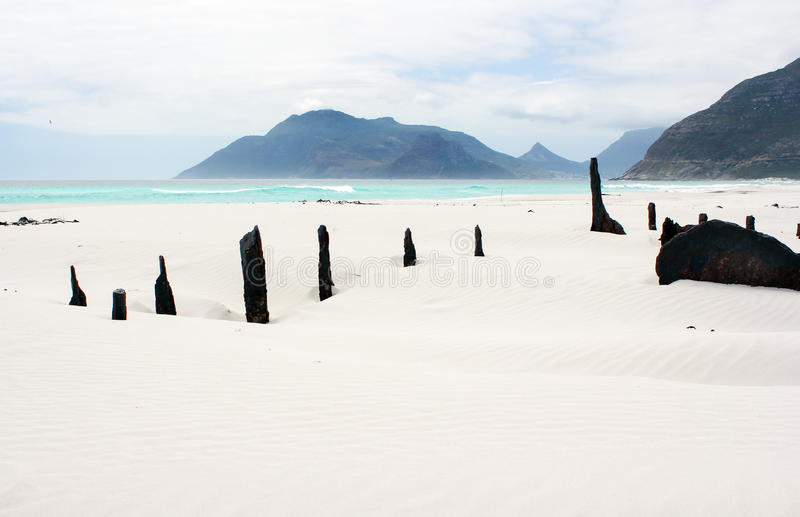 Shipwreck Kakapo at the beach of kommetjie royalty free stock photos