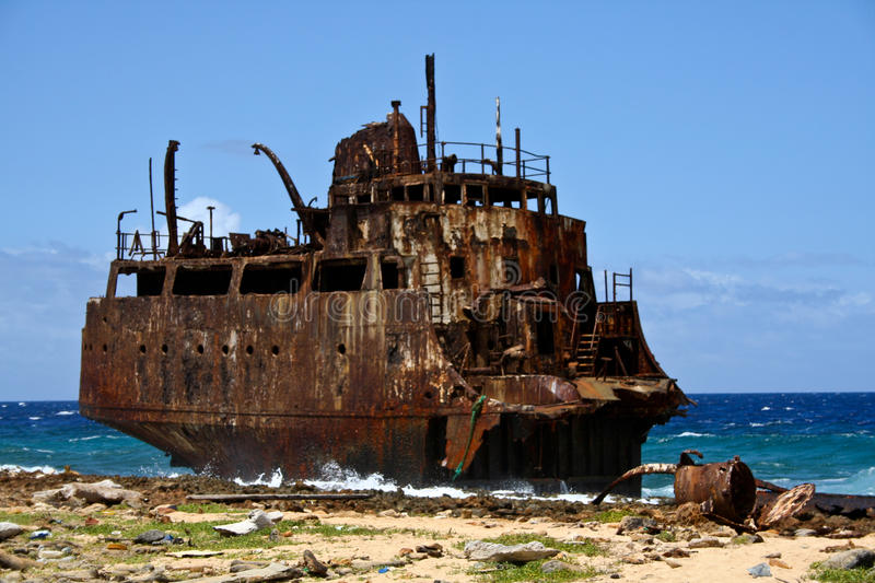 Shipwreck Little Curacao stock image